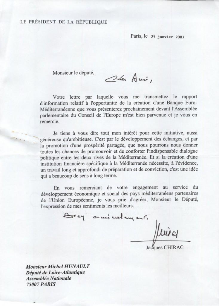 Lettre du Président Jacques Chirac