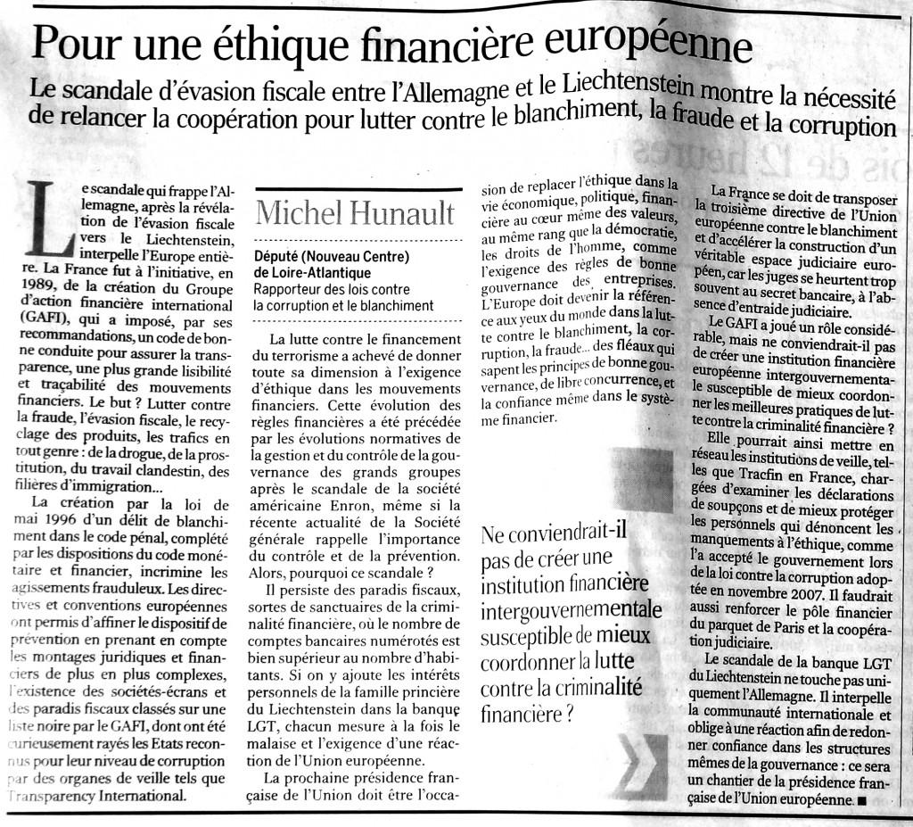 Pour une éthique financière européenne, Le Monde