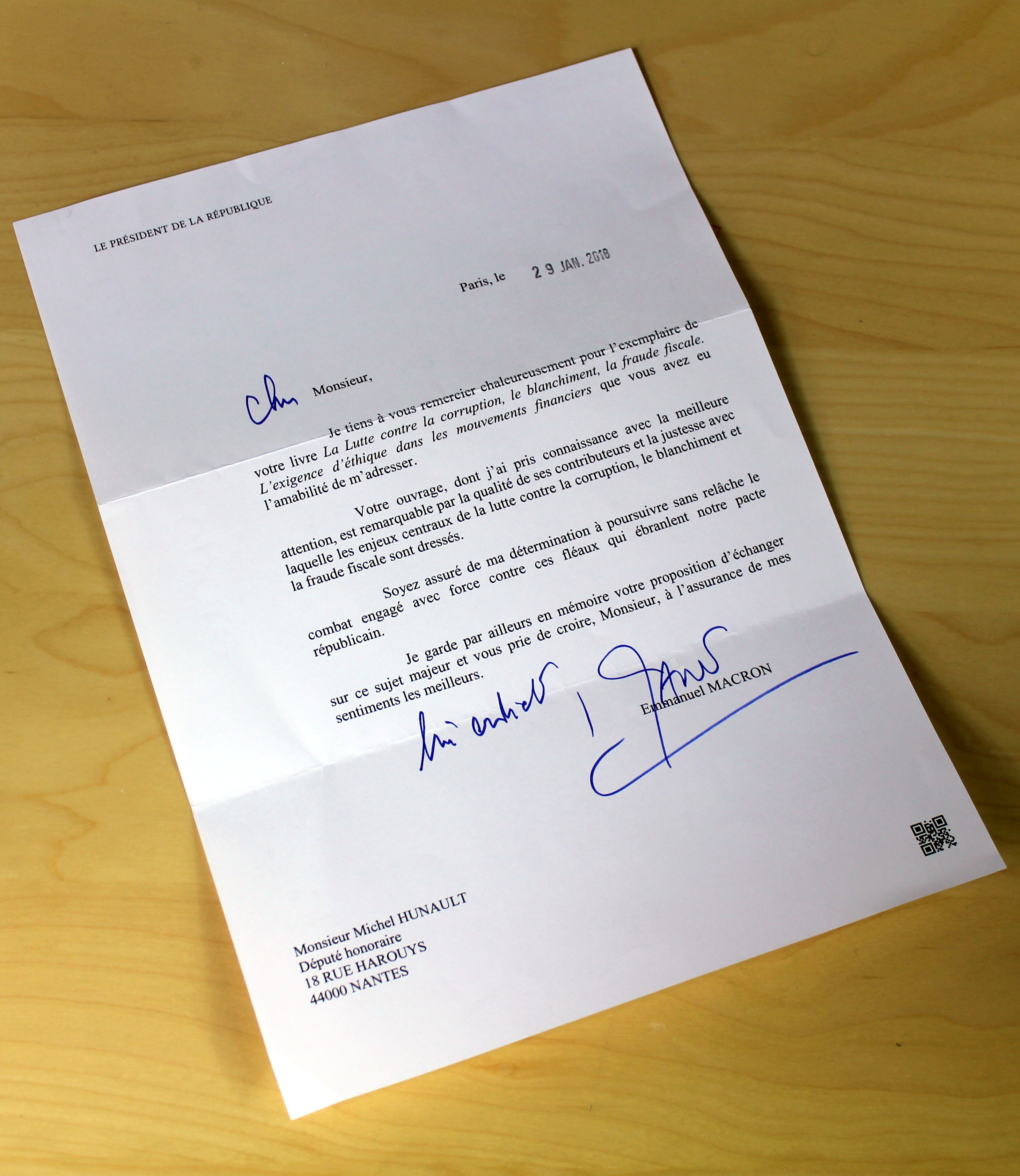 Lettre Du President Emmanuel Macron Michel Hunault