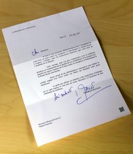 Lettre du Président MACRON à Michel HUNAULT pour son livre